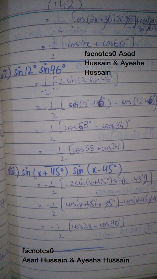 FSc ICS FA Notes Math Part 1 Chapter 10 Trigonometric Identities Exercise 10.4 Question 1 - 2 written by: Asad Hussain & Ayesha Hussain 2