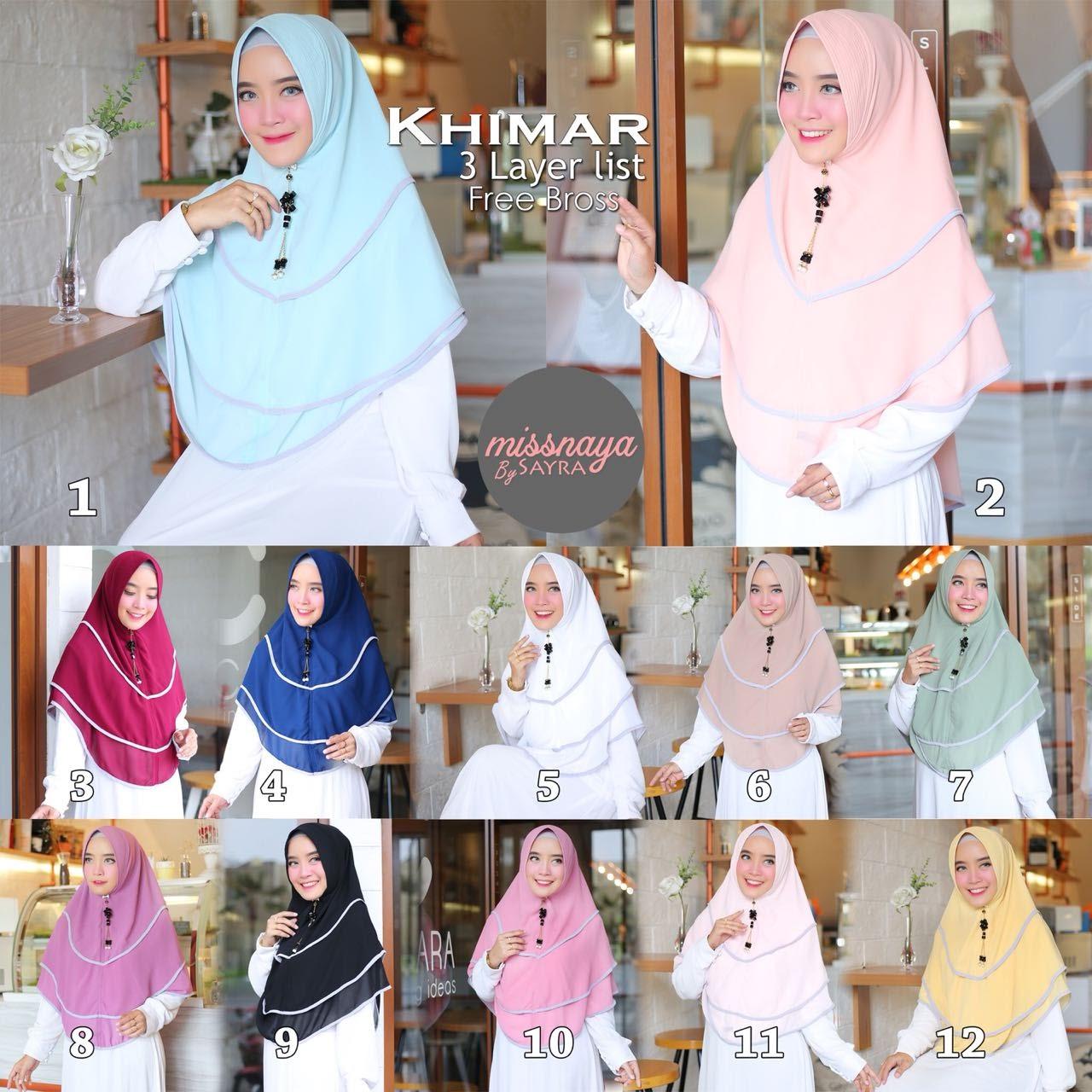 Khimar 3 Layer List Free Bross By Missnaya Melody Fashion Jilbab 3layer Syari Ori