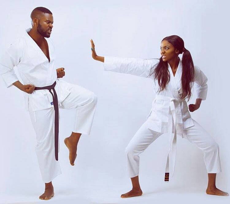 Caption this photo of Falz and Simi practicing karate