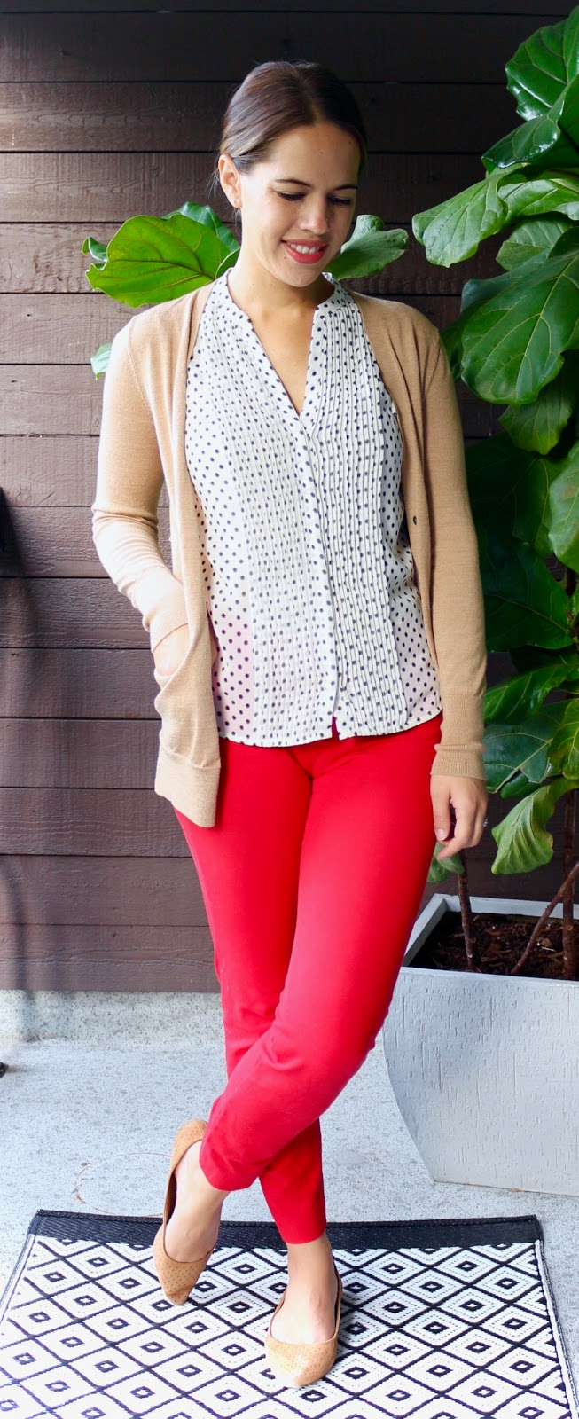 Jules in Flats - Red Ankle Pants with Polka Dot Blouse and Camel (Business Casual Fall Workwear on a Budget)