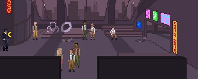 Varios personajes de pie en una sala.