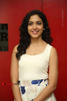 Actress Ritu Varma Stills in White Floral Short Dress at Kesava Movie Success Meet .COM 0054.JPG