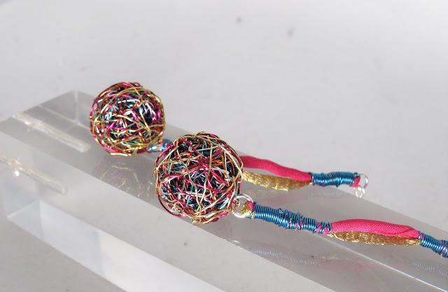 Wire ball earrings, ball earrings drop, modern earrings