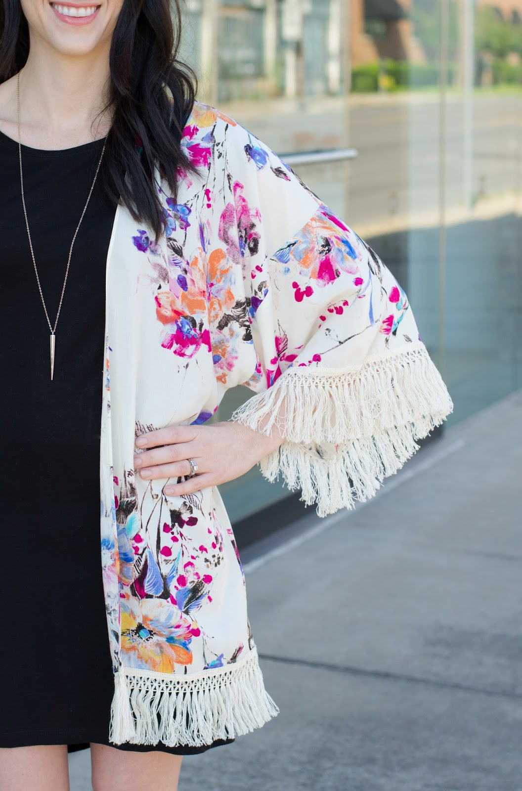Summer floral kimono with fringe sleeve