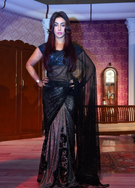 Mahek Chahal in Black Designer Saree During the Launch of Kavach TV Serial On Colors