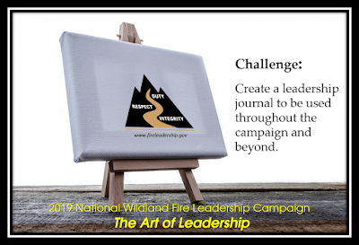 easel with logo and challenge (Create a leadership journal to be used throughout the campaign and beyond.)