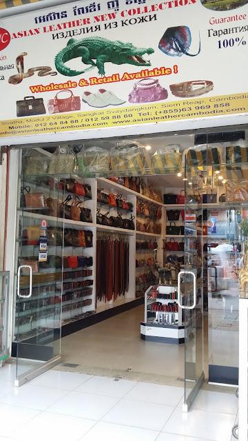 Tienda dedicada a la elaboración de productos en piel de cocodrilo (Siem Reap)
