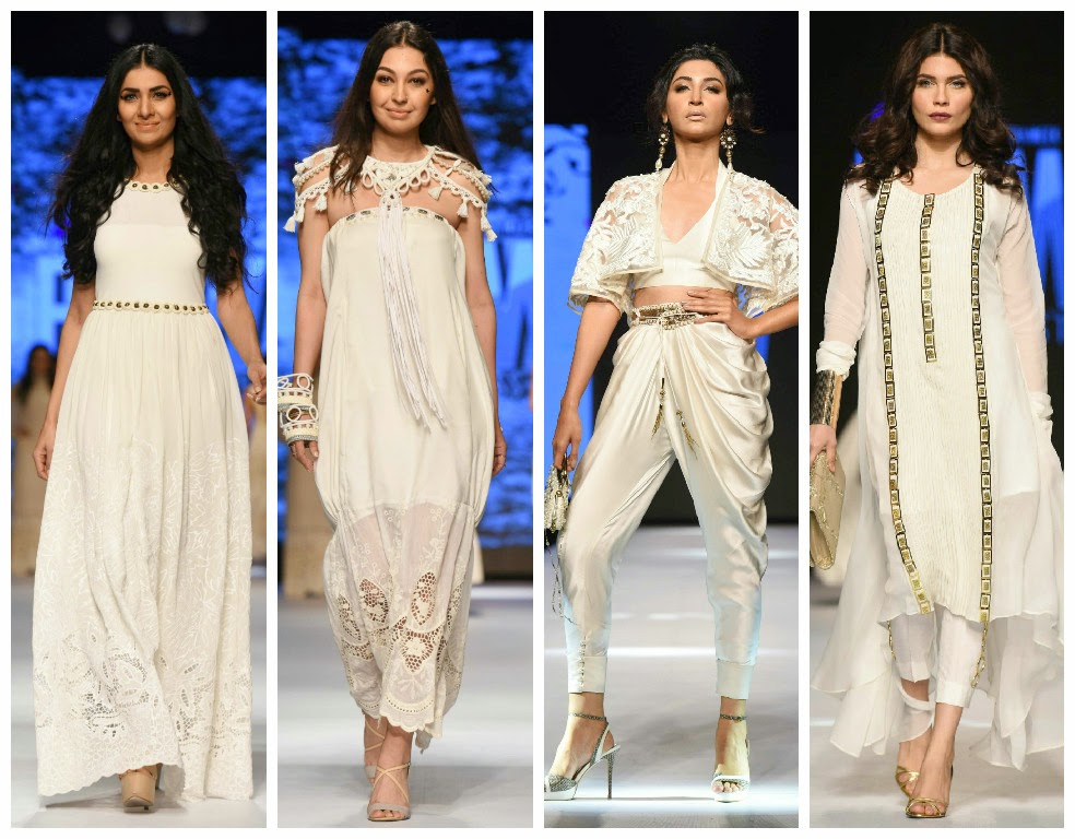 c028b4d53b L-R: Looks in white from Telenor Fashion Pakistan Week 2015: FnK Asia white  lace dress, FnK Asia white tassle dress, Zaheer Abbas white harem pants  with a ...
