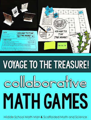 Are you looking for a fun math game that students can play to review what they have learned in class? Voyage to the Treasure! is a new collaborative math game where students work together to beat the Math Monster to the treasure! The directions are easy in this low-prep math game. Voyage to the Treasure! works great as a math review, a day when students have a sub or as a math center.