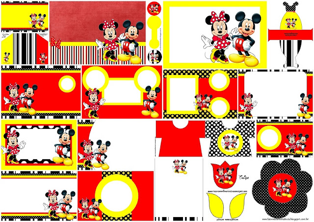 e1b0bb647361 Minnie and Mickey in Red  Free Printable Birthday Invitations.