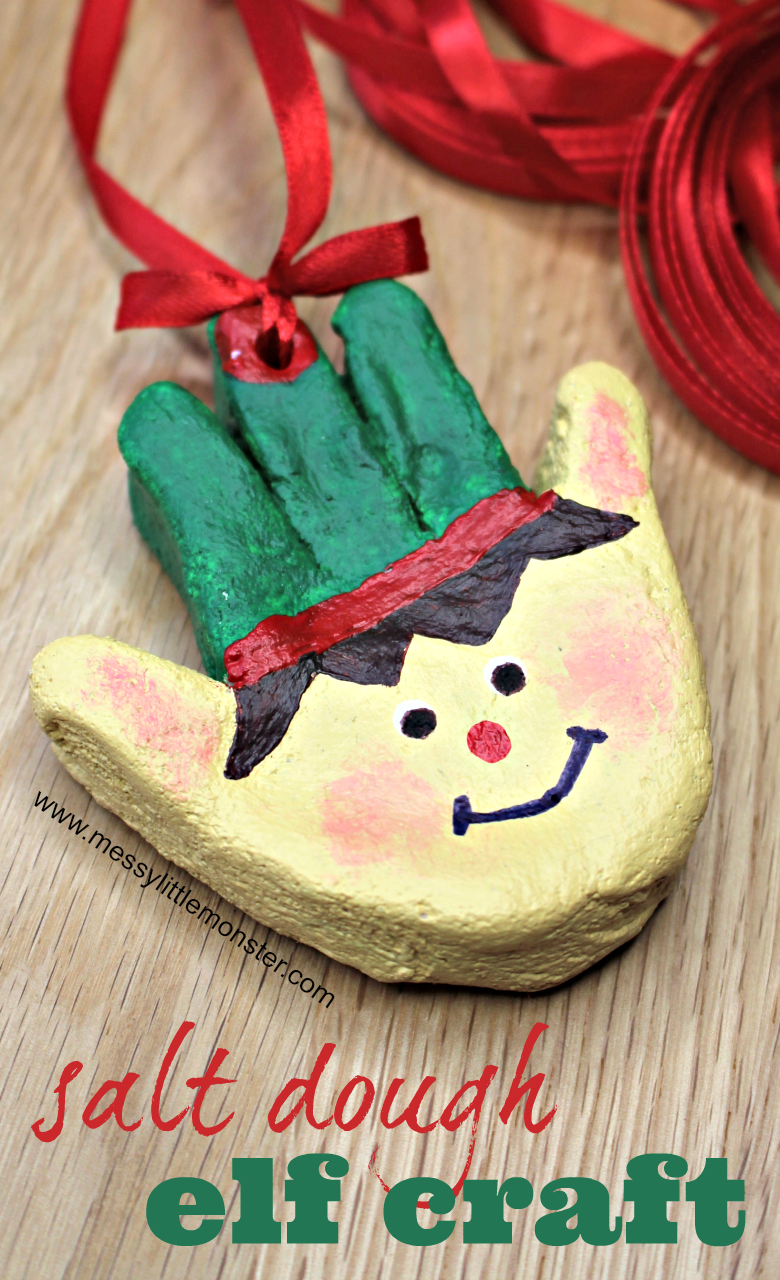 Christmas crafts for kids. Salt dough handprint ornaments. Christmas elf craft. Salt dough crafts.