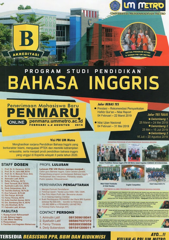 ENGLISH EDUCATION DEPARTMENT OF UM METRO BROCHURE 2019/2020