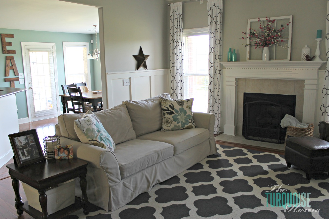Diy Small Living Room Makeover Tv Unit Designs In The India Part 7 Final Reveal Turquoise Home Gorgeous With Beautiful Board And Batten Pottery Barn Sofa Stenciled
