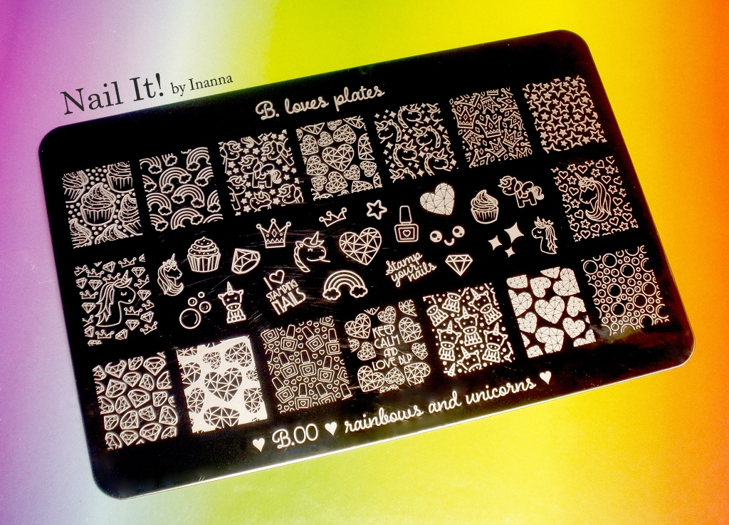 "B. Loves Plates ""B.00 Rainbows and Unicorns"" stamping plate - Swatch and Review"