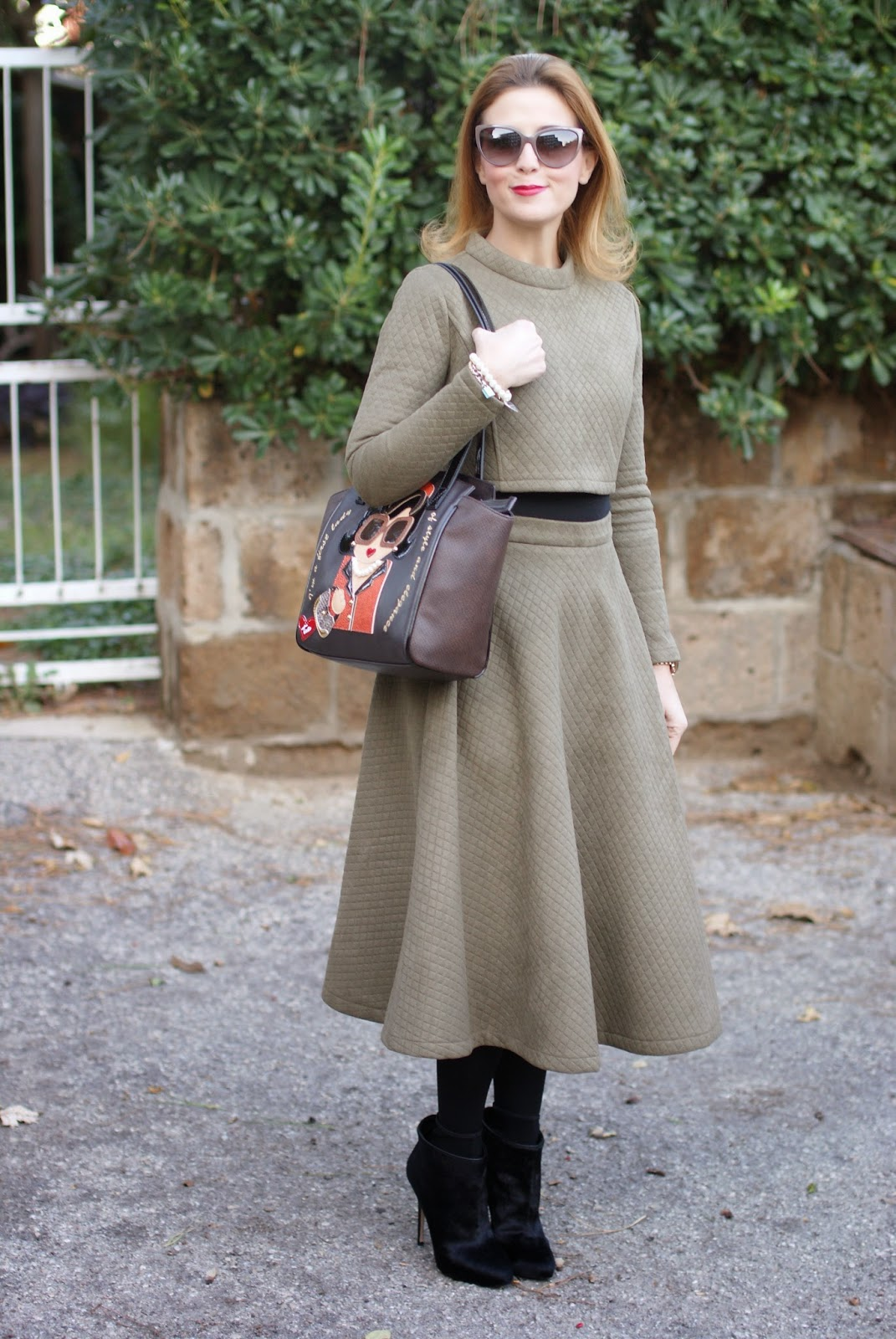 Quilted crop top and midi skirt, Braccialini bag, Le Silla ankle boots, Fashion and Cookies, fashion blogger
