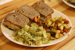 Reuben sandwiches, cabbage, roasted root veggies