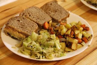 Reuben sandwiches, cabbage, roasted root veggies