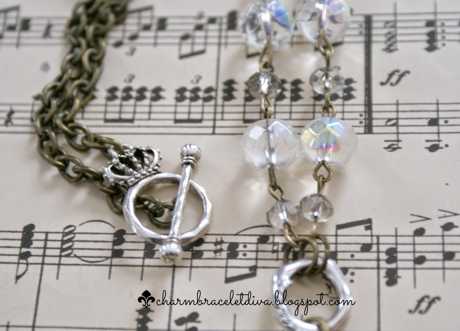 faceted glass beads and togle clasp