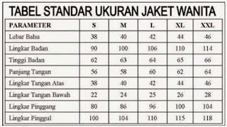 Gambar Tabel ukuran jacket wanita