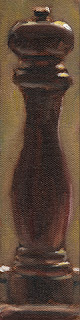 Oil painting of a tall wooden pepper grinder.