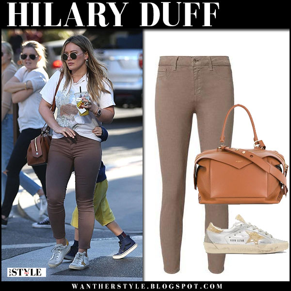 Hilary Duff in white tee, brown skinny jeans lagence and sneakers golden goose street fashion february 18