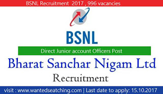 Bharat Sanchar Nigam Limited job vacancies 2017