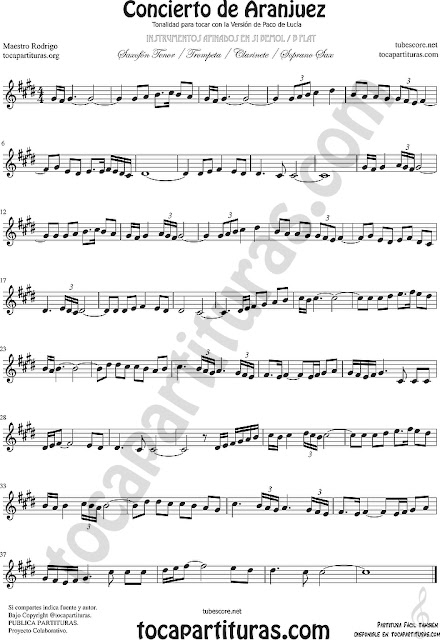 Clarinete Partitura del Concierto de Aranjuez Sheet Music for Clarinet Music Score