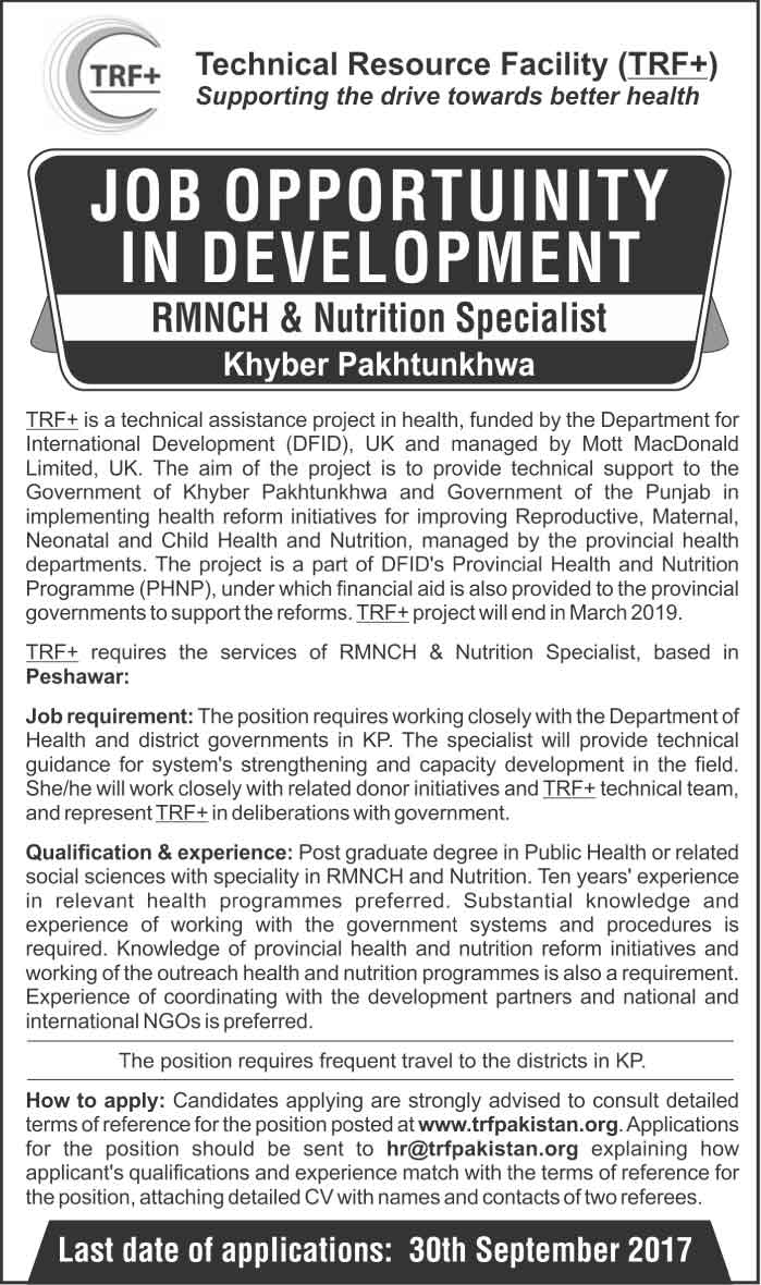 Technical Resource Facility TRF+ Jobs In Peshawar Sep 2017