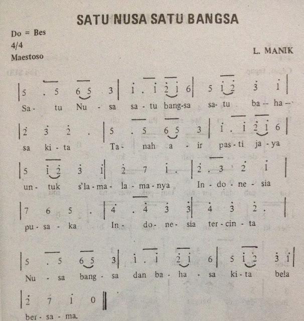 Not Angka Pianika Lagu Satu Nusa Satu Bangsa