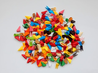 multicolor 3d origami pieces