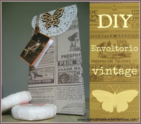 DIY envoltorio para regalo vintage / Vintage paper wrap / papier cadeau vintage