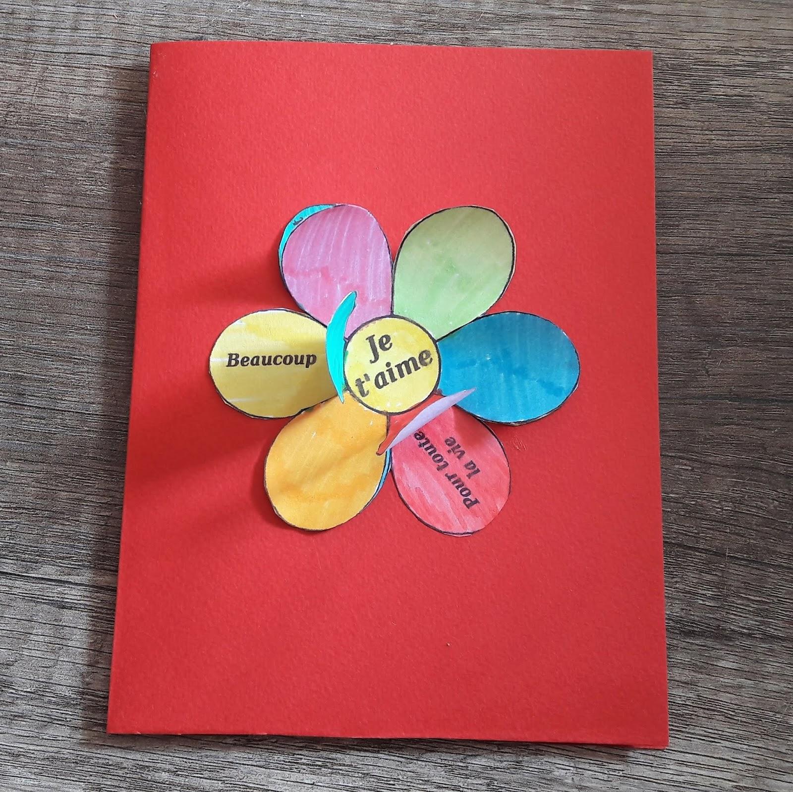 bricolage cadeau une jolie carte fleur effeuiller la quiche et ses lardons. Black Bedroom Furniture Sets. Home Design Ideas