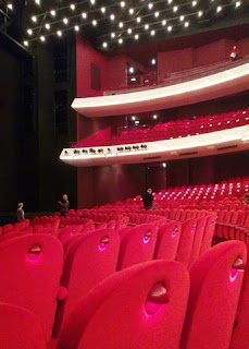 Red seats and white lights at the National Opera and Ballet, Amsterdam, The Netherlands