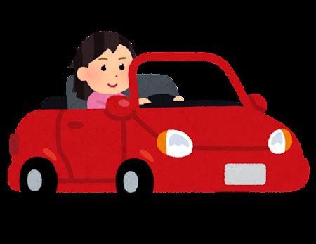 オープンカーを運転する人のイラスト(女性)