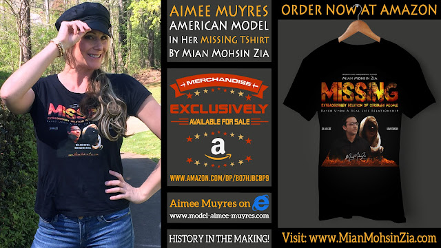 Aimee Muyres, American Model in her Branded MISSING TShirt by Mian Mohsin Zia