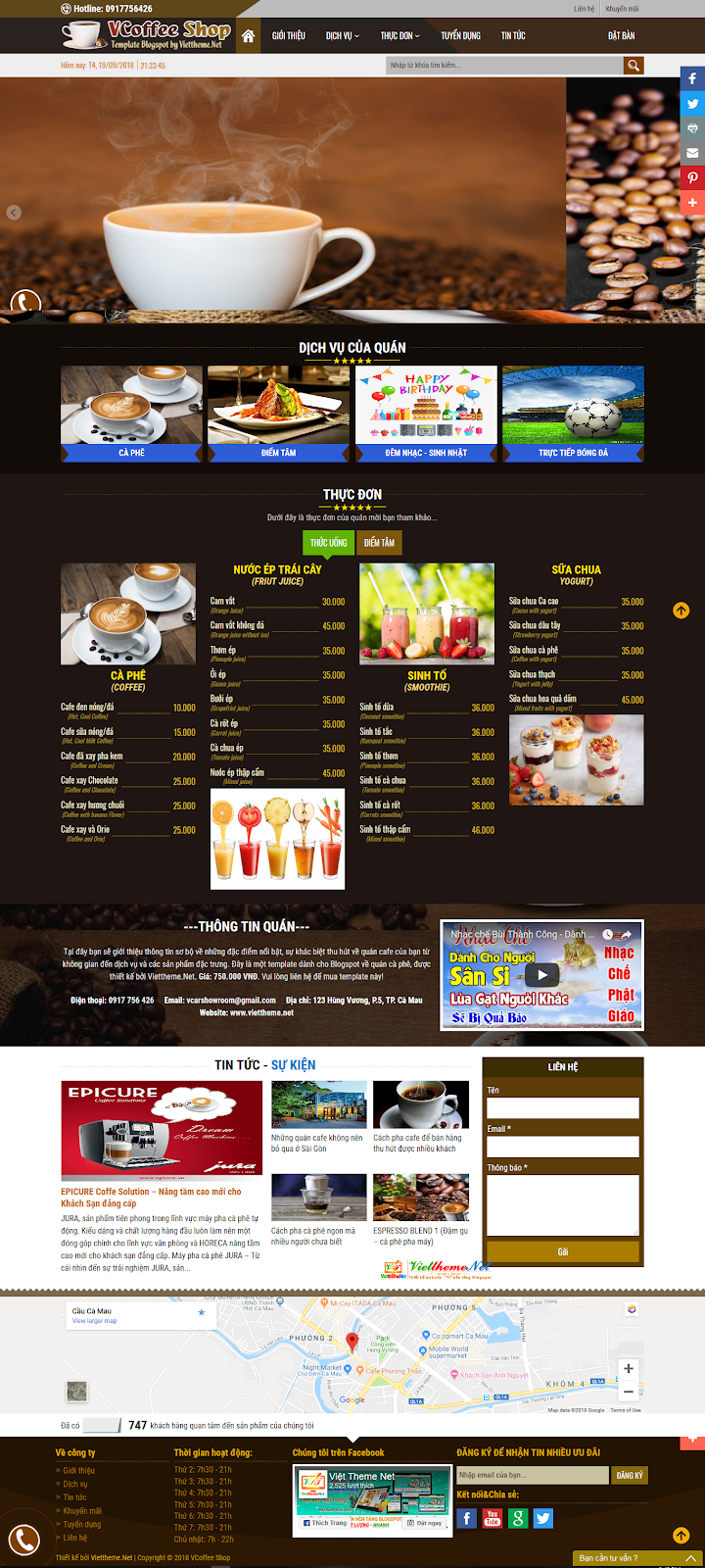 VCoffee Shop một template blogspot đẹp mắt, chuyên nghiệp dành cho quán cafe
