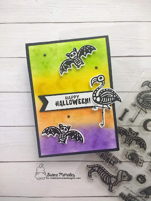 Happy Halloween a card by Diane Morales| Spooky Skeletons Stamp Set by Newton's Nook Designs