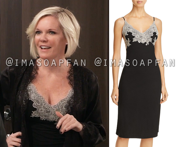 Ava Jerome, Maura West, Black Lace Trimmed Chemise, General Hospital, GH