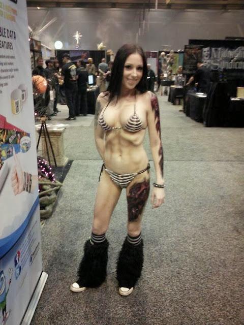 Sexy Halloween body paint on bikini model