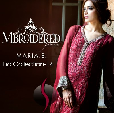 8e2df8cbc5 Maria-B Mbroidered Eid Collection 2014 | Pure Silk/Chiffon Unstitched. As  we know that embroidered dress is the symbol of style and elegance.