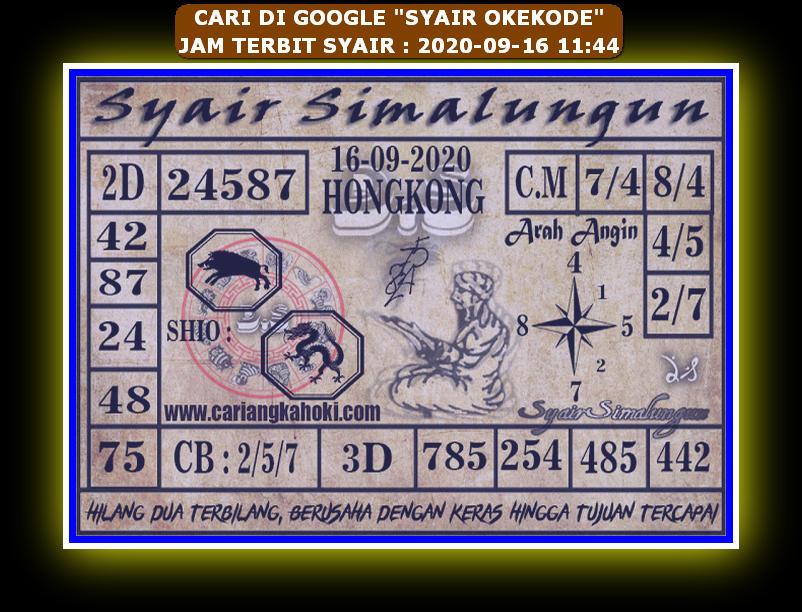 Kode syair Hongkong Rabu 16 September 2020 314