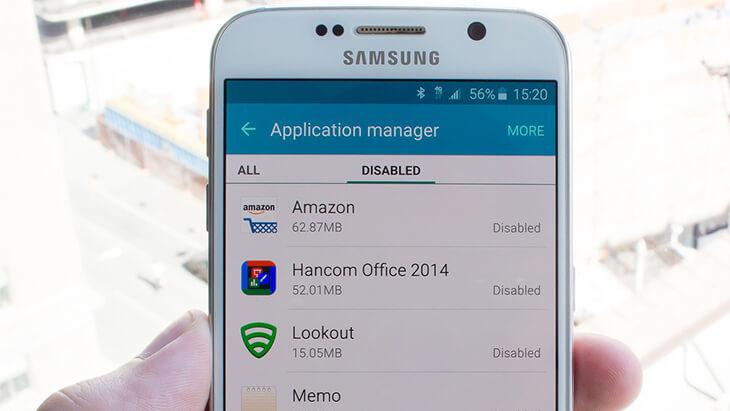 Galaxy S6 aplicaciones desactivadas