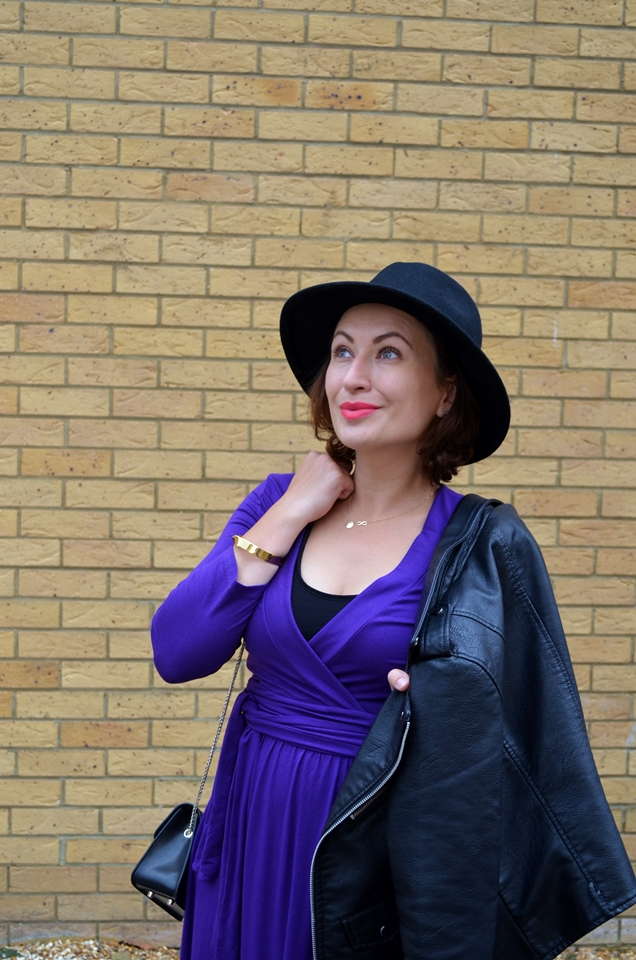 Adriana Style Blog, blog modowy Puławy, Furla Bag, Hat, Purple Dress, Hobbs dress, Leather Jacket, Ramoneska, Kozaki za kolano, Kapelusz, Toreka furla, Fioletowa Sukienka, Over the Knee Boots