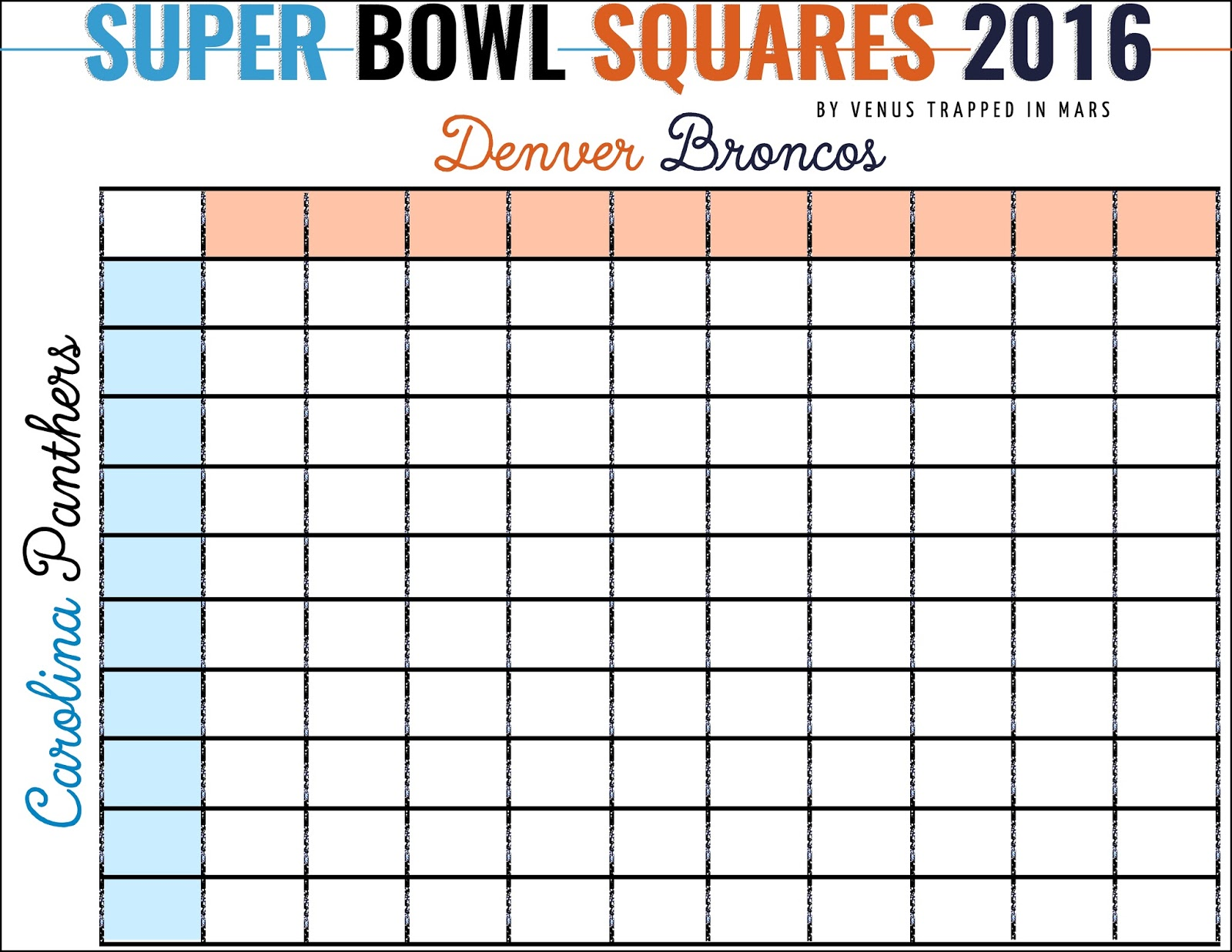 Super bowl squares 2016 denver broncos vs carolina for Free super bowl pool templates