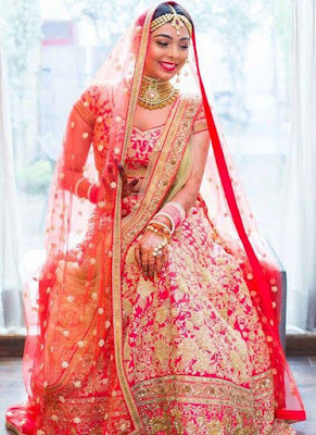 Beautiful Indian Bride In Magenta Lehenga Choli Set with Sequin Work