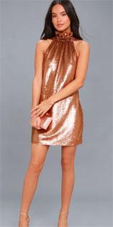 vestido metalico halter en cobre iluminado 2018