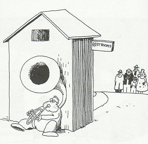 Far Side - Tuba Behind Outhouse