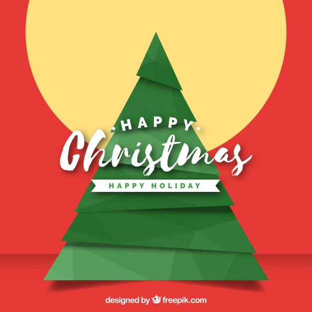 Happy christmas background with a geometrical tree Free Vector