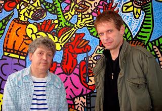 Robert Combas and Klaus Guingand - 2008 - Paris - France.  Robert Combas studio