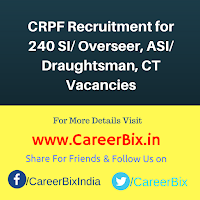 CRPF Recruitment for 240 SI/ Overseer, ASI/ Draughtsman, CT Vacancies